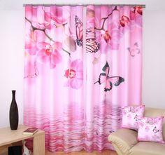 Ružové závesy na okná s 3D potlačou kvetov a motýľov