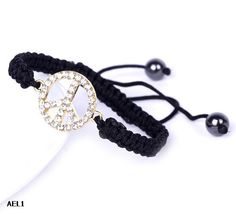 $1.39  Golden Black Peace Crystal Bracelets Beads Jewelry Gift Nylon#Eozy