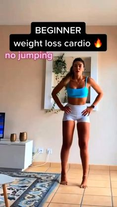 Beginner Cardio Workout, Gym Workout Videos, Gym Workout For Beginners, Fitness Workout For Women, Easy Workouts, Fitness Goals, Core Workouts, Hiit, Flexibility Workout