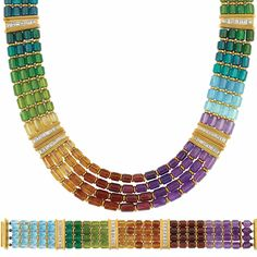 Four Strand Multicolored Stone Bead, Gold and Diamond Necklace and Bracelet   18 kt., the necklace and bracelet composed of four strands of amethyst, garnet, citrine, peridot, tourmaline and blue topaz barrel-shaped beads in a rainbow design, spaced by slender gold circle links, accented by tapered gold bar plaques set with 78 square-cut diamonds approximately 4.45 cts., signed Swiss Made, with maker's mark