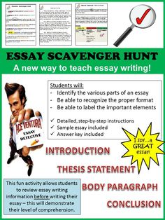 Students go on a scavenger hunt after reviewing all of the information required to write an essay. It is essentially the final test to see if they have acquired the necessary information before they begin writing their essay. A helpful activity to go into your essay writing toolkit!