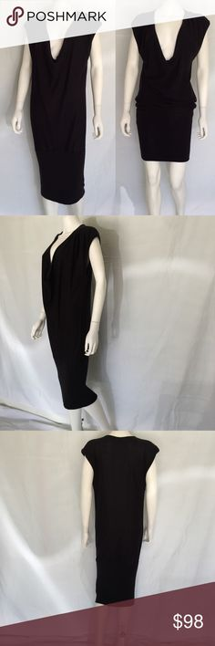 "Diane von Furstenberg Black Silk Cotton Dress 1980s Iconic Vintage Diane Von Furstenberg black knit silk cotton sweater dress. Loose fit Sleeveless shift with deep cowl neckline and 12"" ribbed hem. Can be worn long or short. Diane von Furstenberg Dresses"