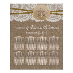 The rustic sand dollar beach wedding collection is a stunning design featuring a lovely rustic burlap effect background with a romantic vintage white lace effect trim finished with a stunning sand dollar and twine. This seating chart can be personalized for your special occasion and would make the perfect plan for your wedding, bridal shower, engagement party, birthday party and much, much more.  <br>  Please note that Zazzle only sell printed products so this item does not have any real ...
