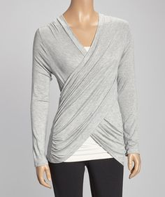 Look what I found on #zulily! Heather Gray Ruched Surplice Top by Loveappella #zulilyfinds