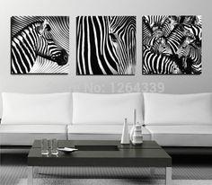 3 panneaux en noir et blanc Zebra Art photos parure personnalité décor moderne peintures murales intérieure toile imprime Unframed nouvelle(China (Mainland))
