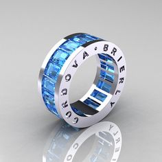 Mens Modern 10K White Gold Blue Topaz Channel Cluster Infinity Band R174-10WGBT--cool!!