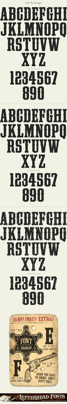 Letterhead Fonts / LHF Gunslinger font set / Western Fonts