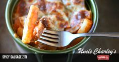 Spicy Sausage Ziti   Uncle Charley's Sausage -->
