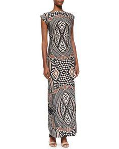 Graphic-Print Bateau-Neck Long Dress, Black Sand  by Melissa Masse at Neiman Marcus.