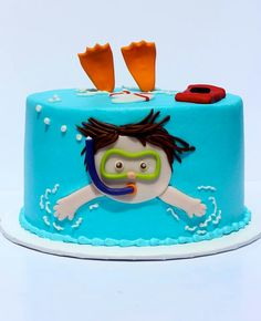 So stinkin cute! snorkeler cake by Cakes by Kerrin---too funny! This would be great for a summer/pool birthday party