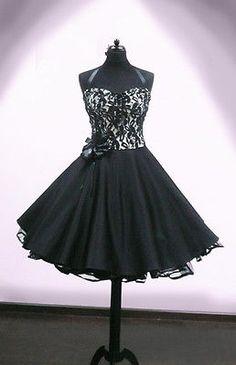 Abendkleid Spitze schwarz Kleid Abiball Konfirmation Brautjunfer Petticoat