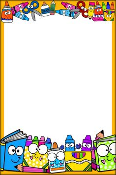 School Frame, Borders And Frames, Binder Covers, Cute Pictures, Back To School, Clip Art, Classroom, Teacher, Education