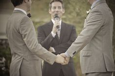 Real Gay Weddings: Nick and Paul Colleen Corby, Lesbian Wedding, Wedding Officiant, Gay Couple, Here Comes The Bride, Wedding Photos, Wedding Ideas, Party Fashion, Wedding Attire