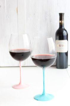 DIY painted wine glass stems.