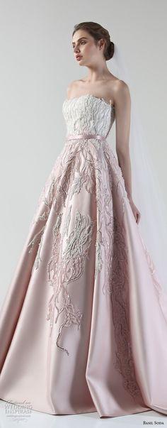 basil soda 2017 bridal strapless straight across heavily embellished bodice romantic princess pink a line wedding dress chapel train (11) zv -- Basil Soda 2017 Wedding Dresses