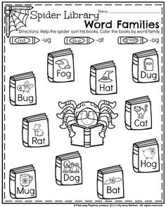 Kindergarten Worksheets for October - Spider Library Word Families Narrative Writing Prompts, Kindergarten Writing Prompts, Kindergarten Math Worksheets, Kindergarten Readiness, Halloween Worksheets, Halloween Activities, Halloween Ideas, Informational Writing, Rhyming Words