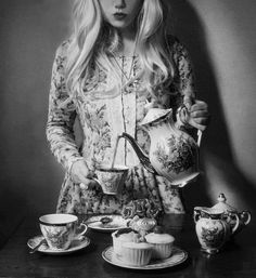 Sometimes I'm reminded that I could always be doing more to match my fashion to my teapots.