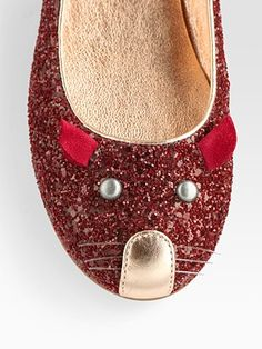 Marc by Marc Jacobs  Glitter-Coated Leather Mouse Ballet Flats