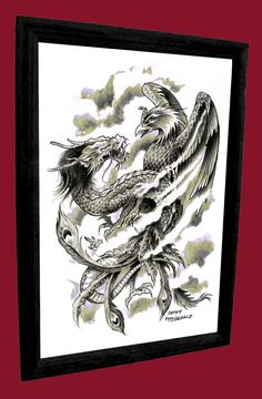 A3+Dragon+Phoenix+Japanese+Tattoo+Art+Print+by+misslilylocket,+$22.00