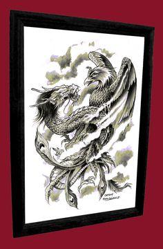 A3+Dragon+Phoenix+Japanese+Tattoo+Art+Print+by+misslilylocket,+$22.00