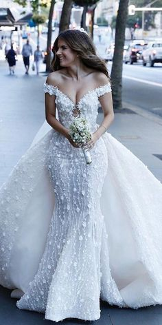 mermaid wedding dresses off the shoulder with overskirt floral appliques steven khalil #weddingdetails