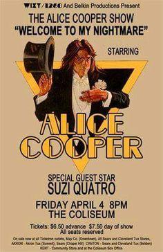 Alice Cooper and Suzi Quatro Rock Posters, Band Posters, Event Posters, Rock Roll, Pop Rock, Soul Music, Sound Of Music, I Love Music, Alice Cooper
