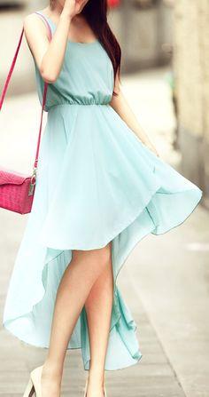 {soft green asymmetrical dress}