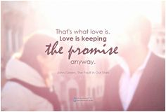 That's what love is. Love is keeping the promise anyway. #Quotes #Sparkles #Dailythoughts HIT *SHARE