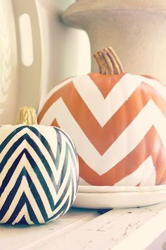 Great way to decorate your pumpkin to match your Chevron accent pillows! #Thanksgiving #Fall #2013