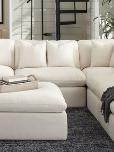 Hobson Off White Upholstered Armless Chair - x x Black, Coaster(Fabric) White Couch Living Room, Living Room Setup, White Couches, Living Room Sectional, Living Room Chairs, Home Living Room, Modular Sectional Sofa, White Sectional Sofa, Living Room Inspiration