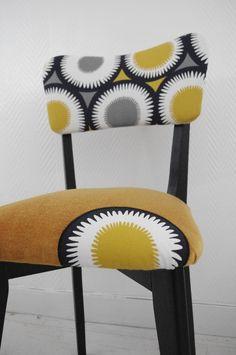 Chaises vintage jaune moutarde