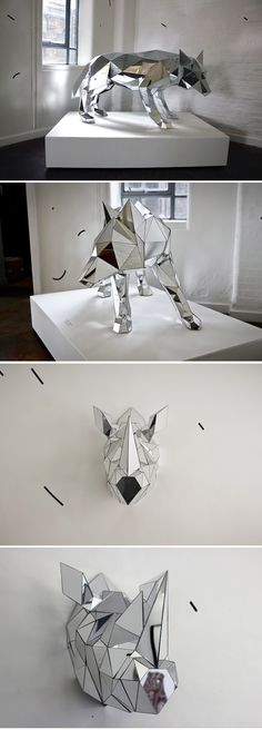 Mirror, Mirror: Reflective Art by Mathias Kiss, Doug Aitken & more :: This Is Glamorous Animal Sculptures, Sculpture Art, Mathias Kiss, Stylo 3d, 3d Studio, Mirror Art, Art Plastique, Oeuvre D'art, Installation Art