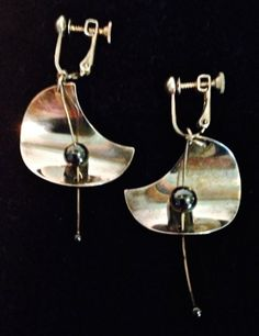 Modernist Earrings Sterling Silver Mod Century by WhirleyShirley, $75.00