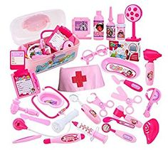 Children Role-playing Simulation Doctors Toy Stethoscope Injections Nurse 31 PCS Of Suits (pink) Little Girl Toys, Baby Girl Toys, Toys For Girls, Kids Toys, Baby Dolls, Little Girls, Barbie Doll Set, Barbie Doll House, Makeup Kit For Kids