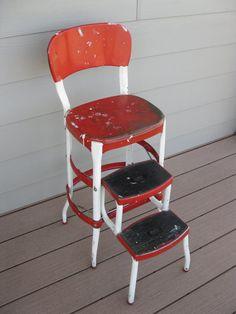 Shabby Metal Cosco Stool Cosco Chair-Child's by oakiesclaptrap