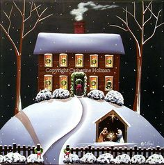 "Folk Art Print Christmas Nativity: The Hermann family live in the house at the top of the hill with 5 children, two cats, and a dog. They finished decorating their home for Christmas and have now retired to sit by the fire reading ""The Night Before Christmas"" and reading about the birth of baby Jesus from the Bible. Each year they put a nativity in front yard to remind everyone of the true meaning of Christmas. #art #folkart #catherineholman #christmas #nativity #christmasfolkart"