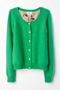 So cozy, and is fully lined in adorable fabric! Green for Sidney, Peach or Yellow for me:-) Epoca Cardigan #anthropologie