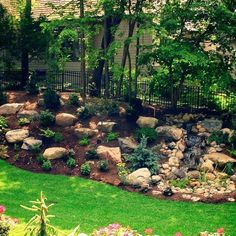 The backyard is a playground, a place for fun and entertainment, a place for family and friends to make memories, a place to unwind and relax. We can work together to build your dream landscape and turn your backyard into the most comfortable Steep Hillside Landscaping, Sloped Backyard Landscaping, Landscaping On A Hill, Sloped Yard, Landscaping With Rocks, Landscaping Ideas, Mailbox Landscaping, Inexpensive Landscaping, Residential Landscaping