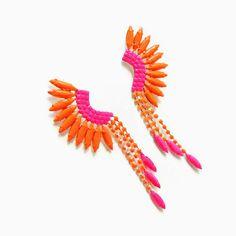 neon pink orange rhinestone Mohawk earrings hand painted JUST ONE Pair