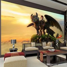 Personalized Custom Wall Mural Large Size How To Train Your Dragon Photo Wallpaper Interior Art Decoration For Kid S Room