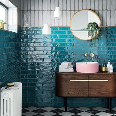 Looking for tile inspiration to redecorate bathrooms and kitchens? Topps Tiles h… Looking for tile inspiration to redecorate bathrooms and kitchens? Topps Tiles have just revealed the vibrant Lampus Peacock as 'Tile of the Year Salon Interior Design, Bathroom Interior Design, Interior Design Living Room, Interior Doors, Interior Paint, Bad Inspiration, Bathroom Inspiration, Interior Inspiration, Spiritual Inspiration