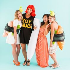 This clever sushi group costume idea is so easy to make!