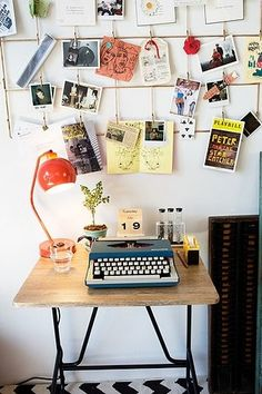 An inspiring spot to work and play - use the white drafting table, electric typewriter w/ interchangeable fonts, clip boards on wall, use my Orient Express Table Lamp w/ my Orient Express Floor lamp with secretary's swivel chair.... viola!