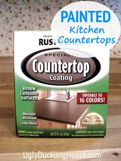 painted kitchen countertops  ($20 product from Rustoleum); also reviewed later for durability here: http://www.uglyducklinghouse.com/2011/09/painted-countertops-and-floors-months.html