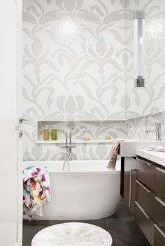 "Mosaic tiles laid in a large-scale design give the children's bathroom a touch of sumptuous grandeur that's playfully undercut by bright accessories. **Bathtub** from [Reece](http://www.reece.com.au/?utm_campaign=supplier/|target=""_blank""). **Bathmat** from [Pottery Barn](http://www.potterybarn.com.au/?utm_campaign=supplier/