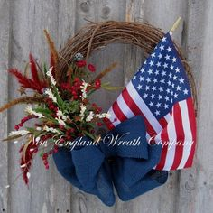 4th of July grapevine  Wreath  | Americana Wreath, Patriotic Wreath, 4th of July Wreath, Spring Summer ... by AudraL