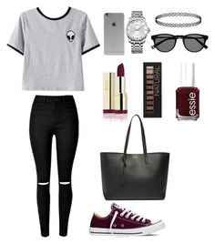 """Style #1"" by maksimchuk-vika ❤ liked on Polyvore featuring Chicnova Fashion, Converse, Yves Saint Laurent, Calvin Klein, Forever 21, Incase, Essie, casual, black and red"