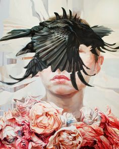Meghan Howland #flowers #crow #painting