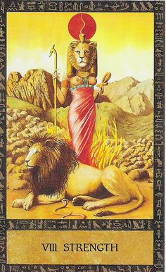 The Goddess Sekhmet as the Strength Card in Clive Barrett's Ancient Egyptian tarot deck.