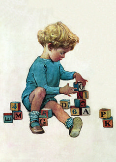 Pigtails Painting - Little Boy Playing With Blocks by Jessie Willcox Smith Boy Illustration, American Illustration, Girl Illustrations, Jessie, Little Boy Drawing, Buy Prints Online, Boys Playing, Classic Books, Little Boys